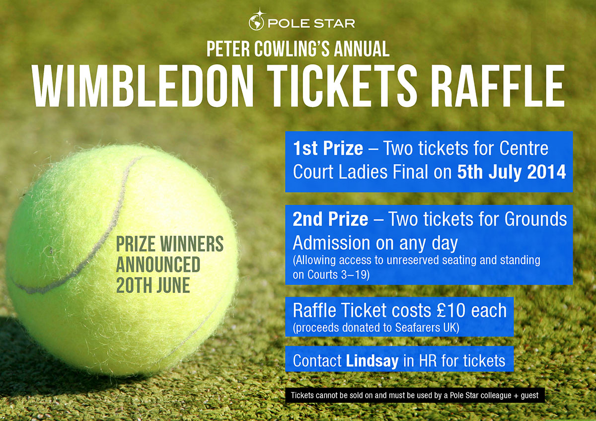 Wimbledon raffle ticket flyer